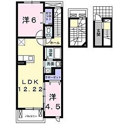 愛知県刈谷市小山町8丁目の賃貸アパートの間取り