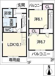 [タウンハウス] 愛知県名古屋市港区小碓4丁目 の賃貸【/】の間取り