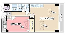 京都府京都市山科区西野小柳町の賃貸マンションの間取り