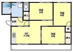 愛知県豊田市朝日ケ丘2丁目の賃貸マンションの間取り