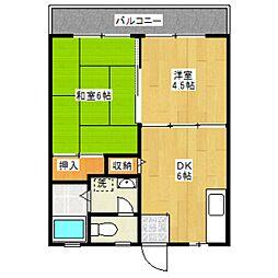 東京都世田谷区北烏山7丁目の賃貸アパートの間取り