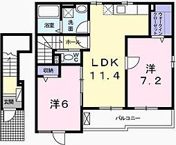 兵庫県姫路市辻井8丁目の賃貸アパートの間取り