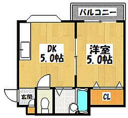 大阪府大東市諸福7丁目の賃貸マンションの間取り