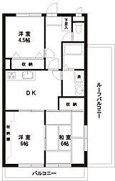 東京都福生市加美平3丁目の賃貸マンションの間取り