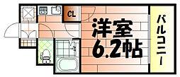 ライオンズマンション三萩野駅前[403号室]の間取り
