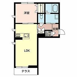 シャーメゾンアルフラット1LDK[1階]の間取り