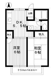 東京都練馬区谷原の賃貸アパートの間取り