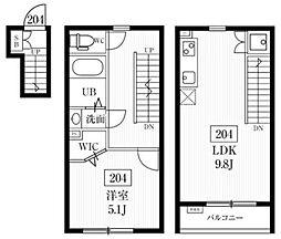 東急目黒線 多摩川駅 徒歩12分の賃貸アパート 2階1LDKの間取り