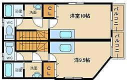 兵庫県姫路市飾磨区思案橋の賃貸アパートの間取り