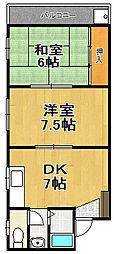 ハナキマンション[2階]の間取り