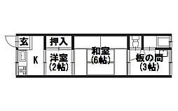 第2竹園荘[205号室]の間取り