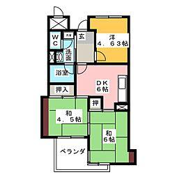 トーカンマンション星ヶ丘[2階]の間取り