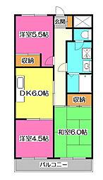 上砂パークマンション[4階]の間取り