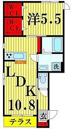 東武伊勢崎線 西新井駅 徒歩15分の賃貸マンション 1階1LDKの間取り