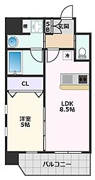 プレジオ江坂II 7階1LDKの間取り