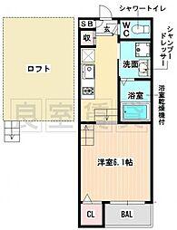愛知県名古屋市昭和区安田通2丁目の賃貸アパートの間取り