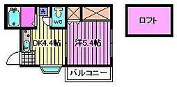 フラット堀崎[1階]の間取り