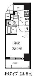 GRACE NORTH NISHITEMMA 9階1Kの間取り