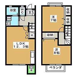 [テラスハウス] 静岡県富士宮市山本 の賃貸【/】の間取り