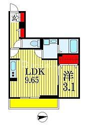 CASA MIA 3階1LDKの間取り
