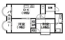 ハイツ長岡京[4階]の間取り