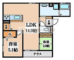 プレミアムコート新金岡[1階]の間取り