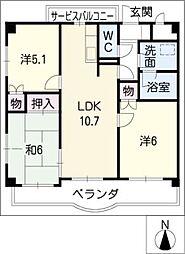 コンフォート[4階]の間取り