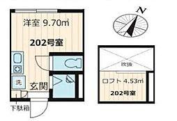 ヴェルデ西小岩(ネット・仲介手数料・更新料・無料)[202号室号室]の間取り