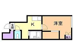 レオパレス三田 1階ワンルームの間取り