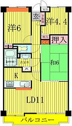 千葉県柏市富里3丁目の賃貸マンションの間取り