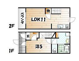 猫共生賃貸ウィズキャット三萩野[1号室]の間取り