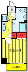 都営三田線 新板橋駅 徒歩5分の賃貸マンション 8階1Kの間取り