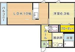 福岡県北九州市小倉北区赤坂5丁目の賃貸アパートの間取り