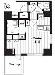 オープンレジデンシア銀座二丁目 10階ワンルームの間取り
