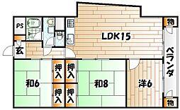 チュリス小倉[4階]の間取り