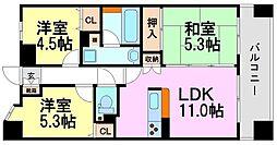 兵庫県尼崎市塚口町2丁目の賃貸マンションの間取り