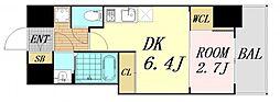 セレニテ桜川駅前プリエ 15階1DKの間取り