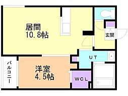仮)サリーレ新札幌B 1階1LDKの間取り