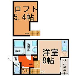 愛知県名古屋市中村区中村町7丁目の賃貸アパートの間取り