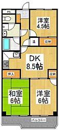 内田マンション[4階]の間取り