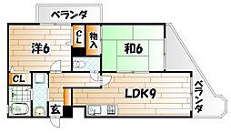 福岡県北九州市小倉北区日明2丁目の賃貸マンションの間取り