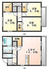[テラスハウス] 岡山県岡山市中区平井6丁目 の賃貸【/】の間取り