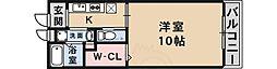 JR片町線(学研都市線) 藤阪駅 徒歩16分の賃貸マンション 2階1Kの間取り