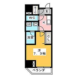 江戸川橋ステーションレジデンス 5階1Kの間取り