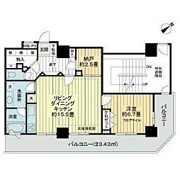 東京メトロ有楽町線 東池袋駅 徒歩8分の賃貸マンション 24階1SLDKの間取り