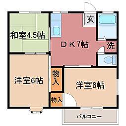 山梨県甲府市千塚3丁目の賃貸アパートの間取り