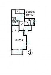 東京都目黒区五本木2丁目の賃貸アパートの間取り