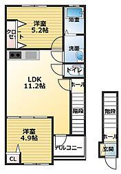 香川県観音寺市柞田町の賃貸アパートの間取り
