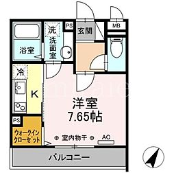 D-room相模大野5丁目 2階1Kの間取り