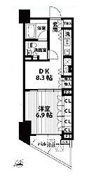 東急東横線 代官山駅 徒歩1分の賃貸マンション 6階1DKの間取り